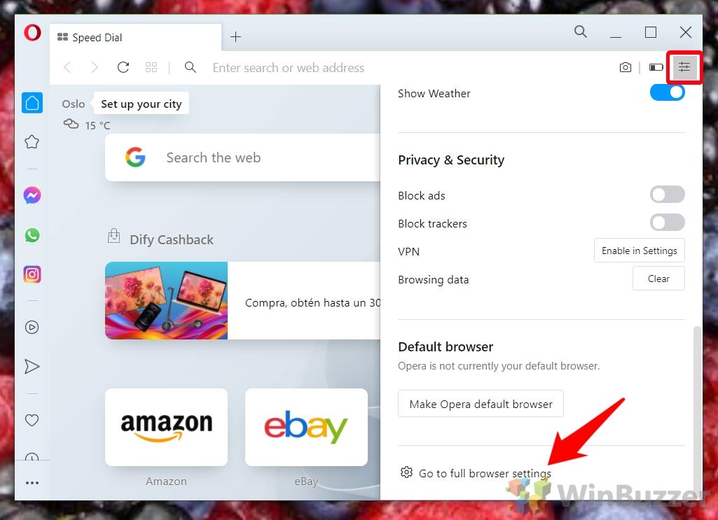 Windows 10 - Opera - Settings Open Full Browser Settings