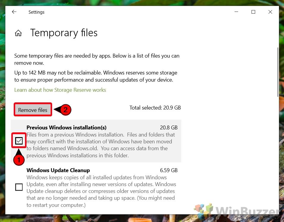 Windows 10 - Settings - System - Storage - Temporary Files - Check PRevious Windows Installation - Remove Files