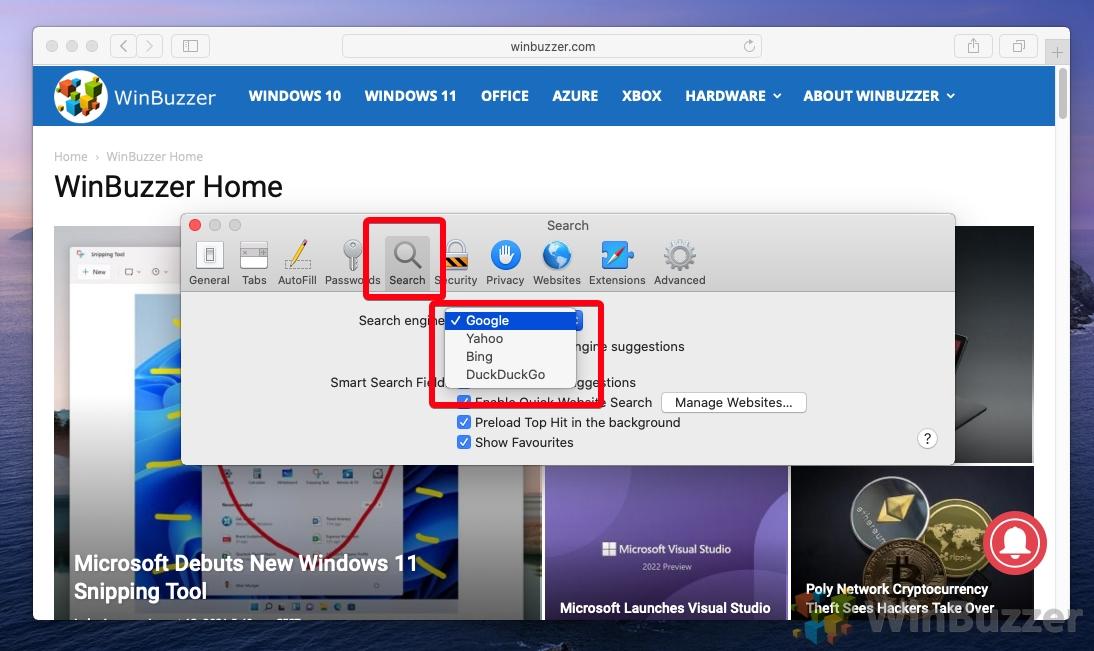 Safari - Menu - Settings - Change Default Search Engine