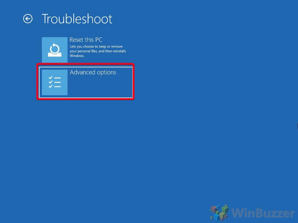 Windows 10 - Advanced Startup Options - Troubleshoot - Open Advanced Options
