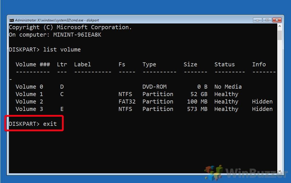 Windows 10 - Advanced Startup Options - Command Prompt - Diskpart - List Volume - Drive Letter - Type Exit
