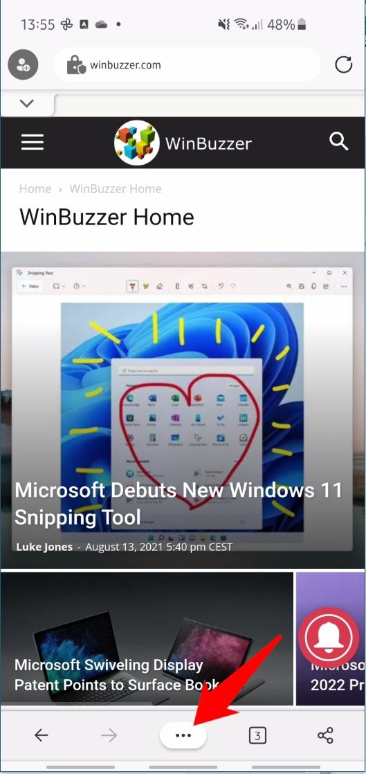 Microsoft Edge Mobile - Open Menu