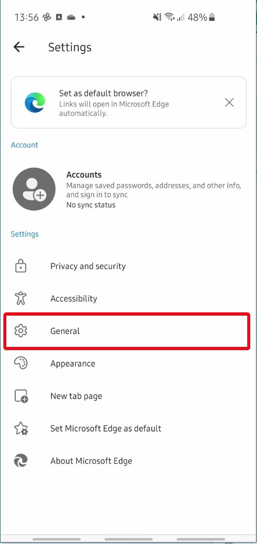 Microsoft Edge Mobile - Menu - Settings - General