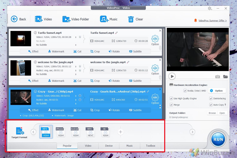 VideProc select presets