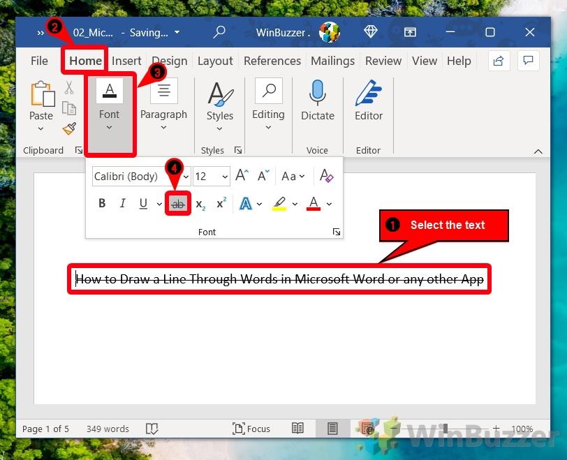 Windows 10 - Word - Strikethrough the Text