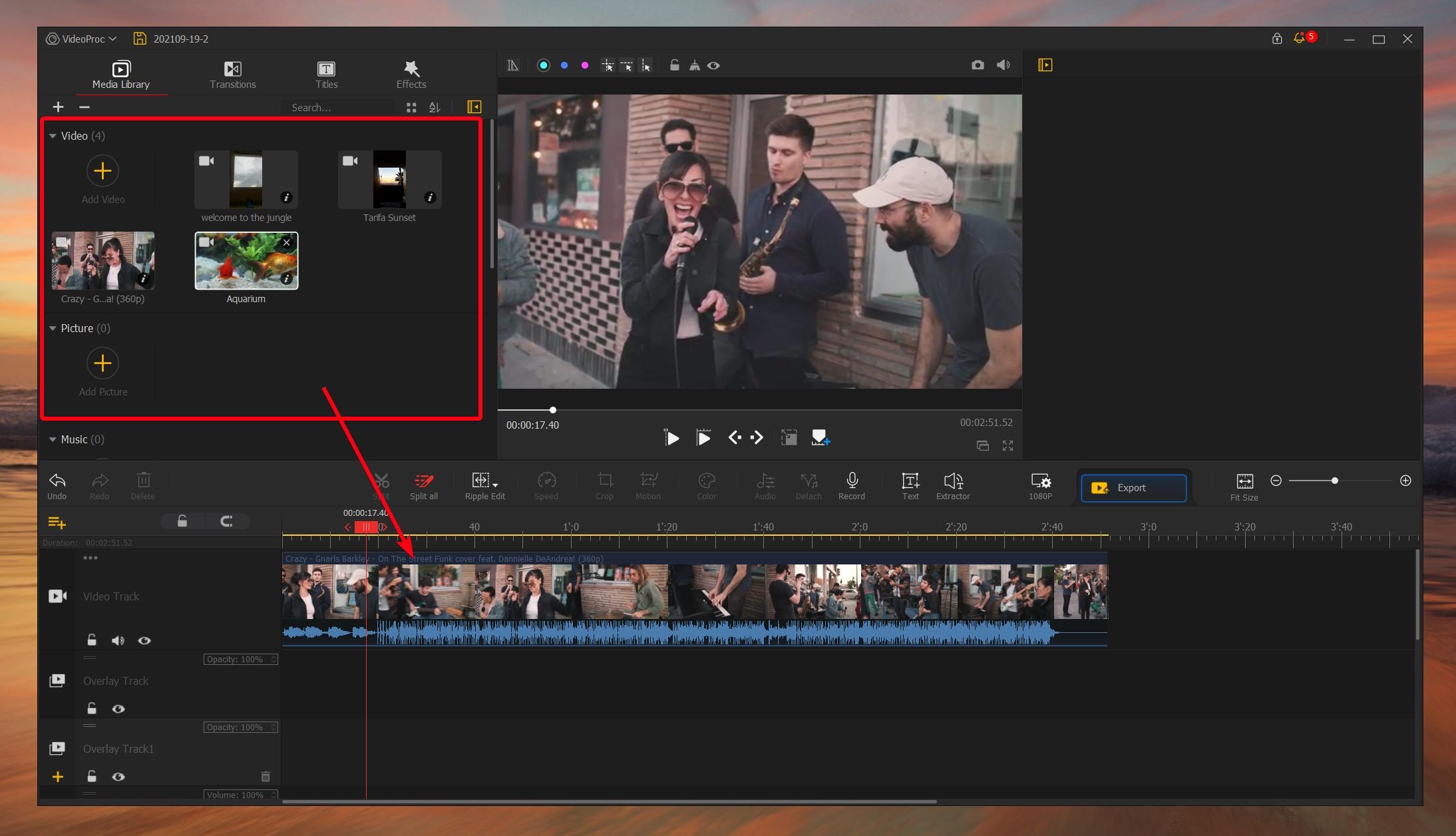 VideoProc Vlogger - File Management - Video Track