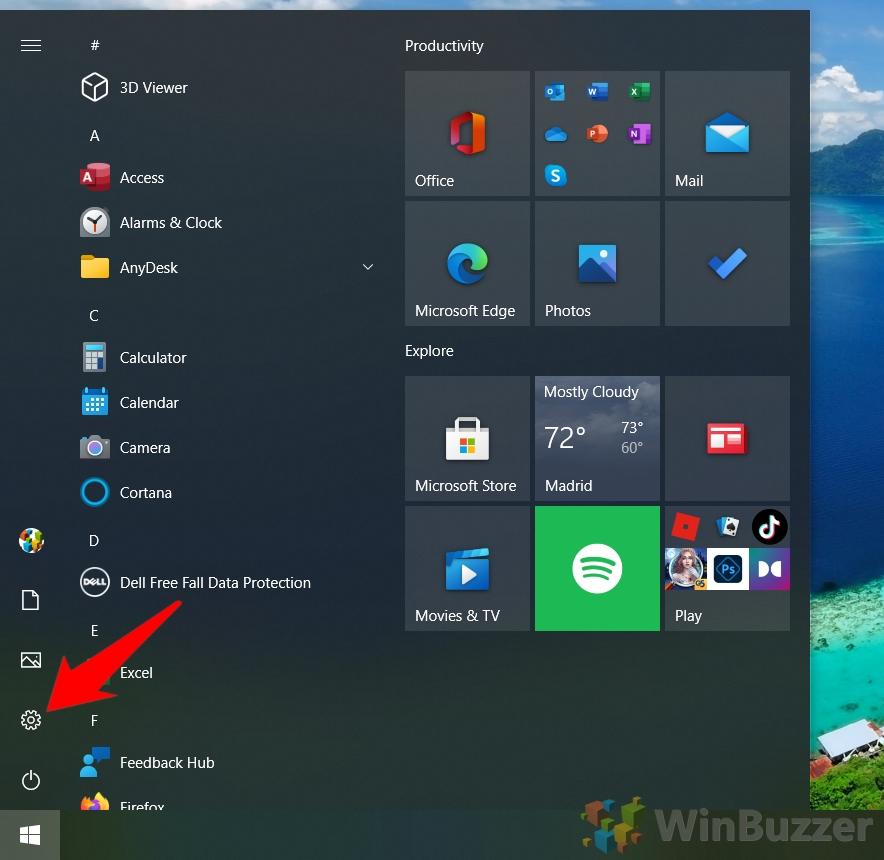 Windows 10 - Open Settings