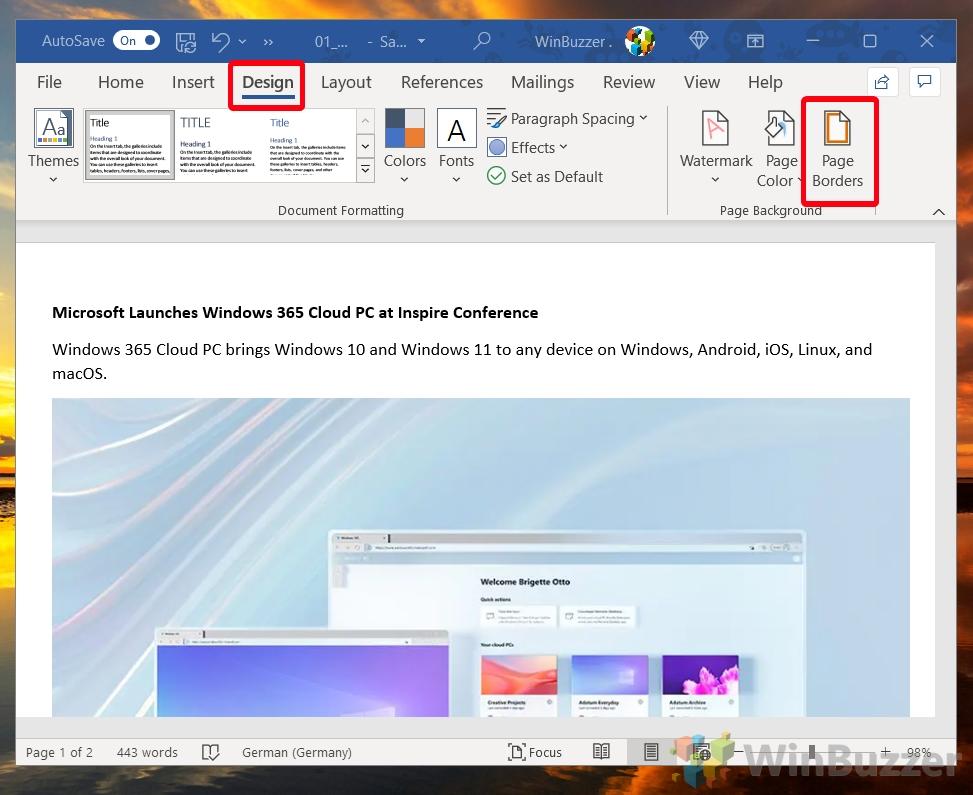 Windows 10 - Word - Design - Page Borders