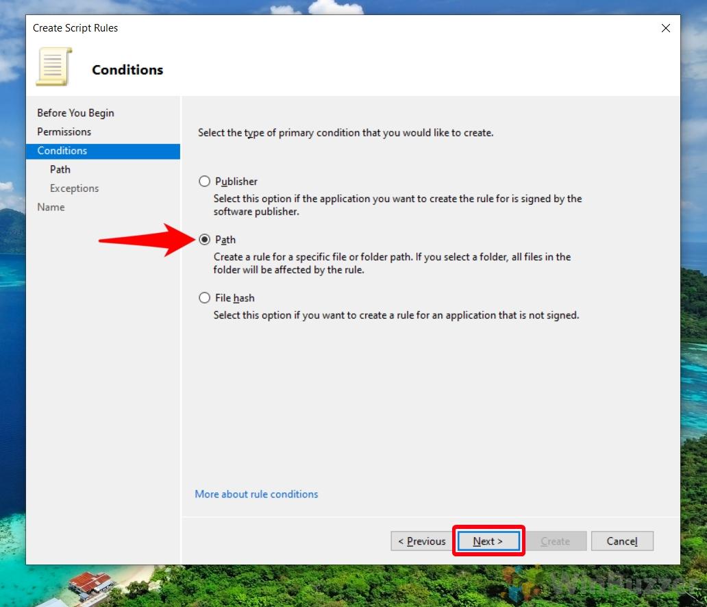 Windowa 10 - Local Security Policy - AppLocker - Configure Rule Enforcement - Create New Rule - Deny - Path - Next
