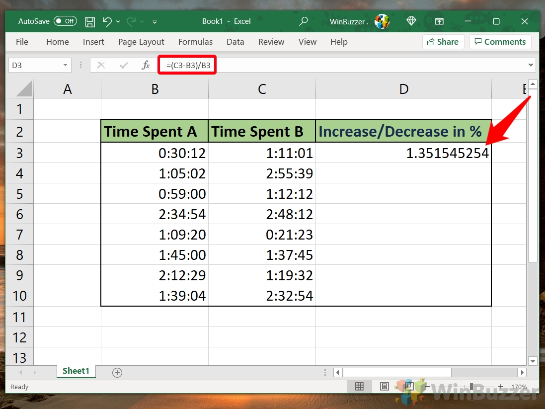 Windows 10 - Excel - Select the Cell - Type the Formula - Enter