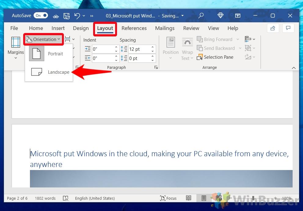 Windows 10 - Word - Layout - Orientation - Landscape