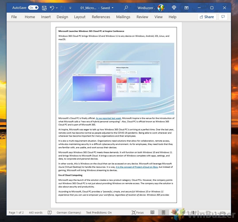 Windows 10 - Word - Design - Page Borders - Box - Result