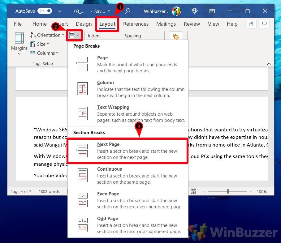 Windows 10 - Word - Layout - Page Braks - Next Page