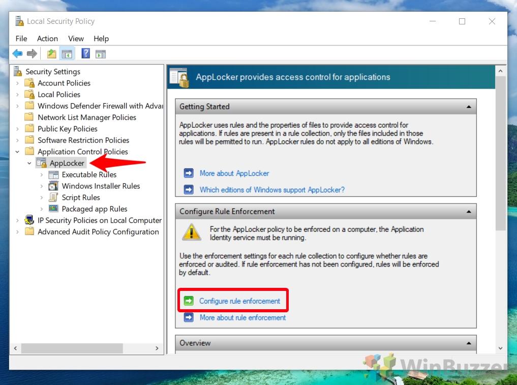 Windowa 10 - Local Security Policy - AppLocker - Open Configure Rule Enforcement