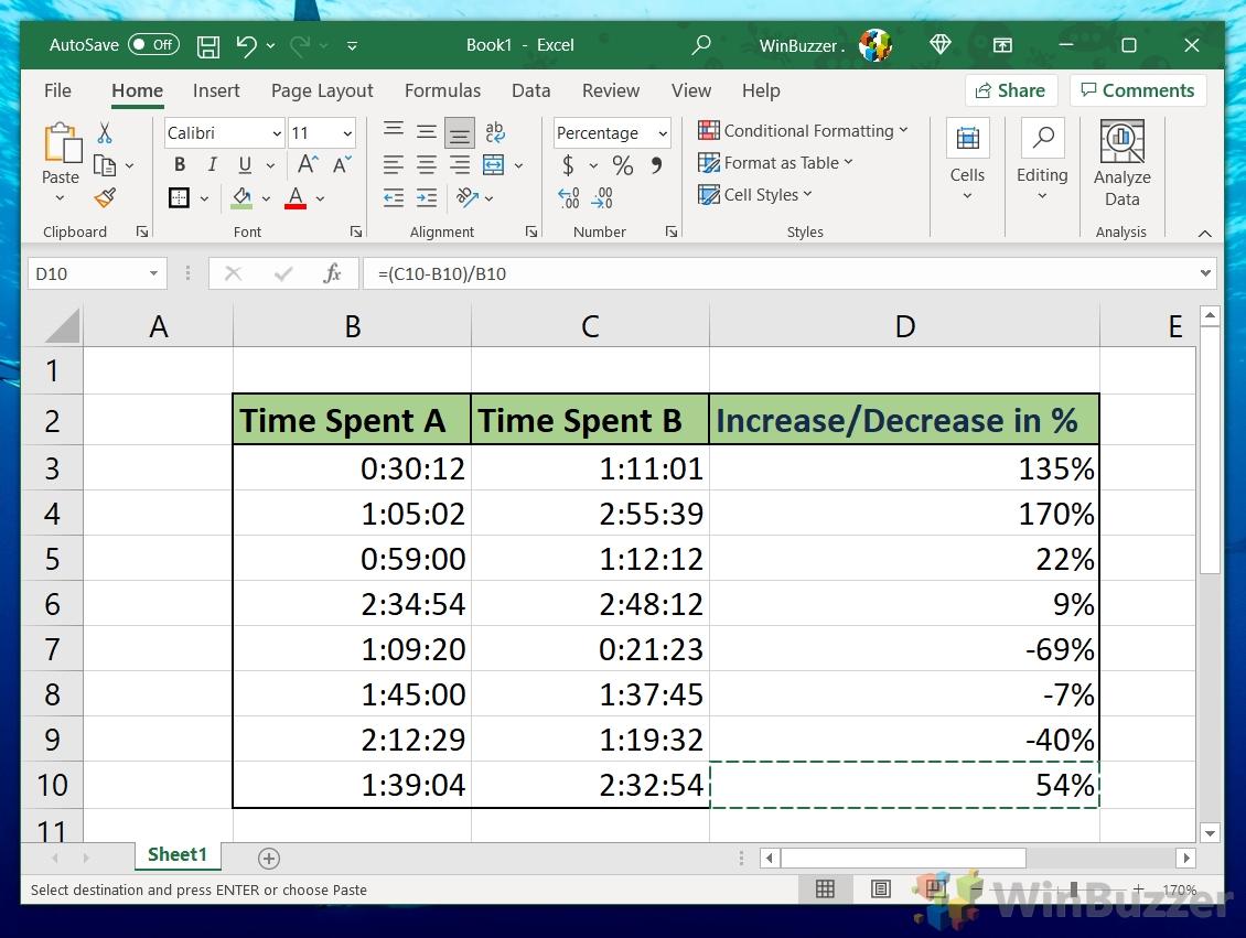 Windows 10 - Excel - Enter the Formula - Home - Numbers - Percentage - .00.0 - Result