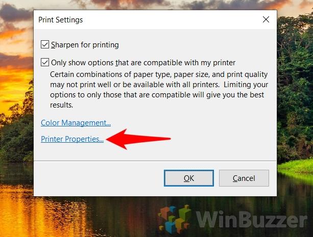 Windows 10 - Select Images - Print - Printer - Microsoft print to PDF - Options - Printer Properties