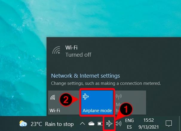 Windows 10 - Airplane Icon - Disable Airplane Mode