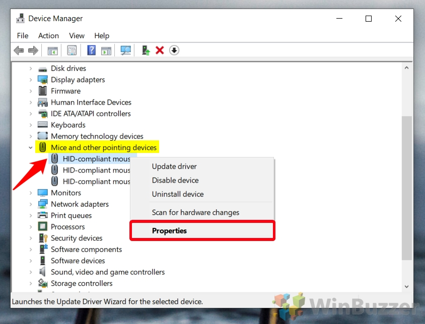 Windows 10 - Device Manager - Mice - Mouse Properties