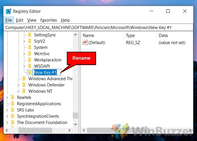 Windows 10 - Regedit - Windows - New Key - Rename