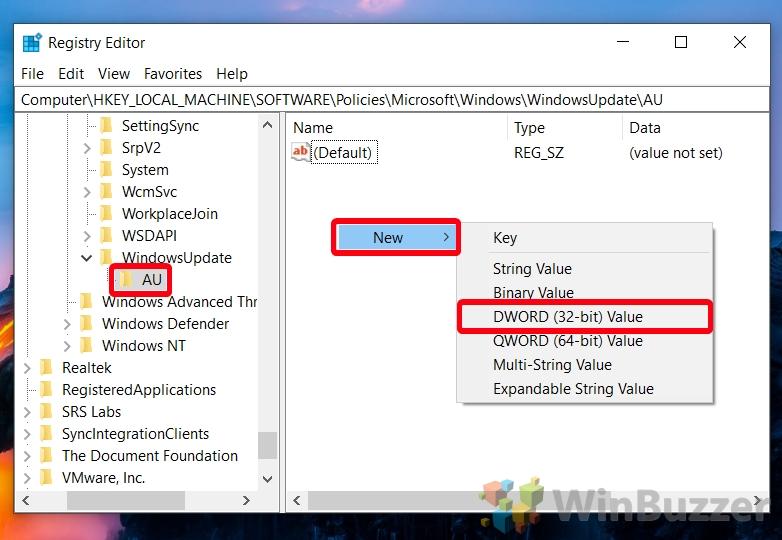 Windows 10 - Regedit - Windows - Windows Update - AU - New DWORD