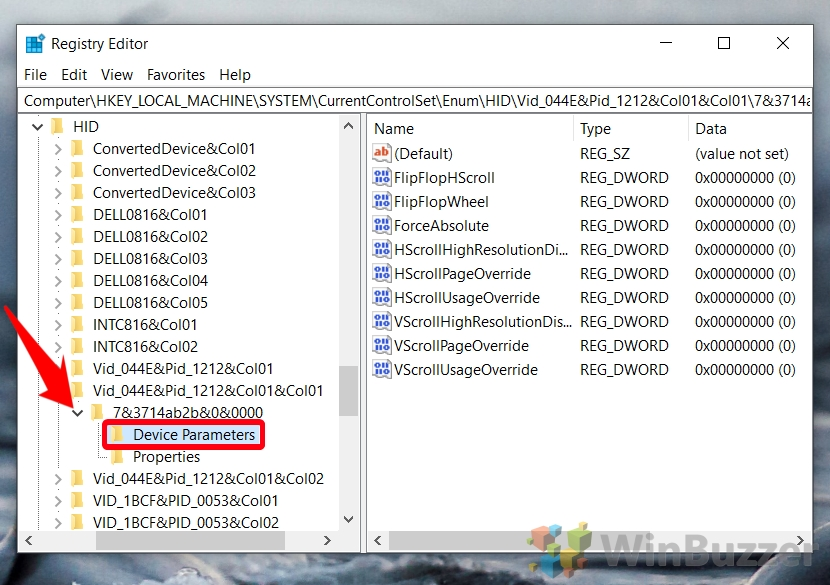 Windows 10 - Regedit - Browse the Path - Expand the Mouse VID ID Key - Expand the Available Key - Device Parameters