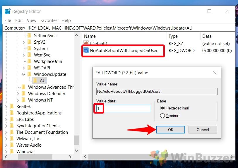 Windows 10 - Regedit - Windows - Windows Update - AU - NoAutoReboot - Value Data 1 - Accept