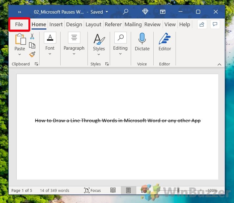 Windows 10 - Word - Open File