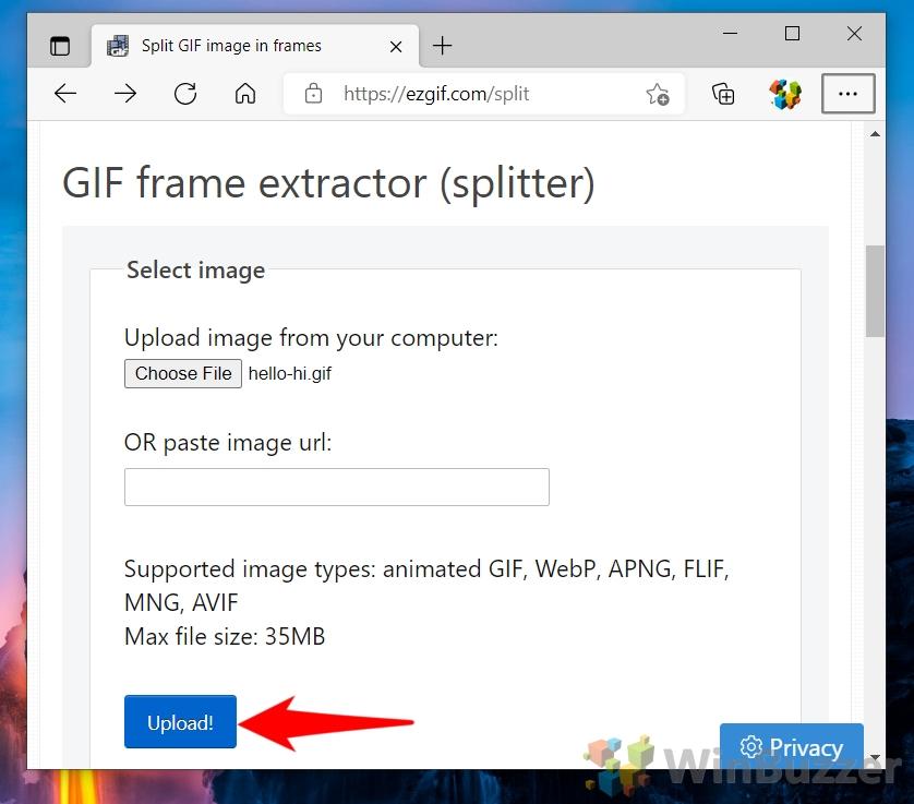 Windows 10 - ezgif.com - Choose File - Open - Upload