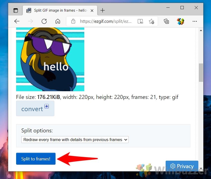 Windows 10 - ezgif.com - Choose File - Open - Upload - Split to Frames