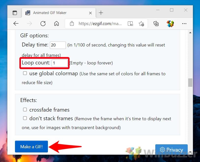 Windows 10 - ezgif.com - Choose File - Open - Upload - Split to Frames - Edit Animation - Loop Count 1
