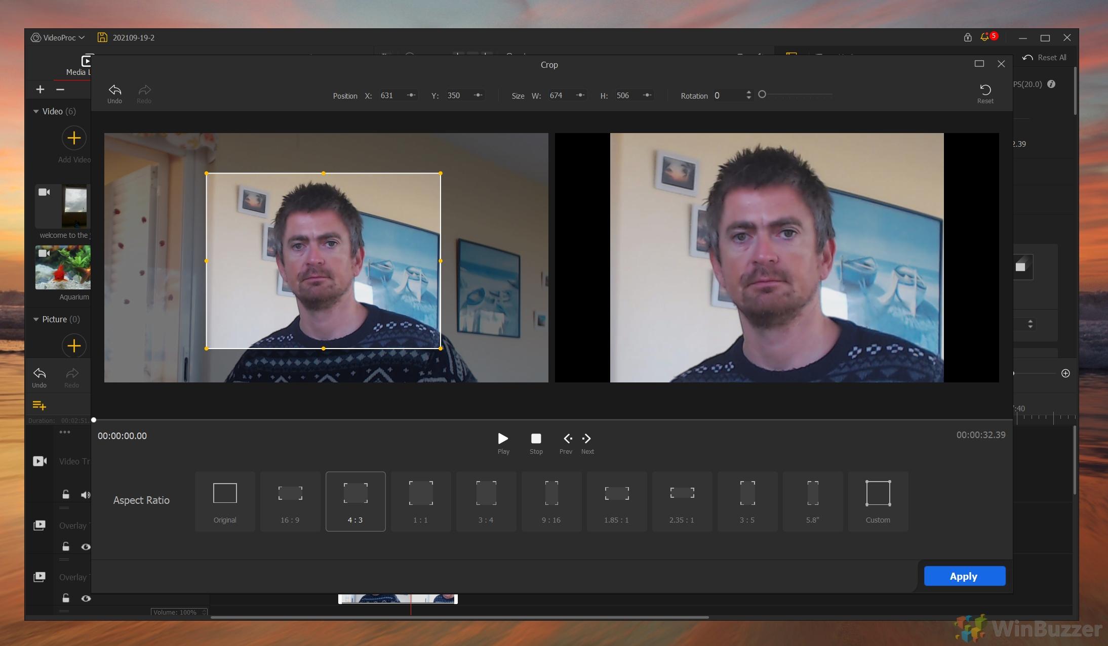VideoProc Vlogger - Cropping