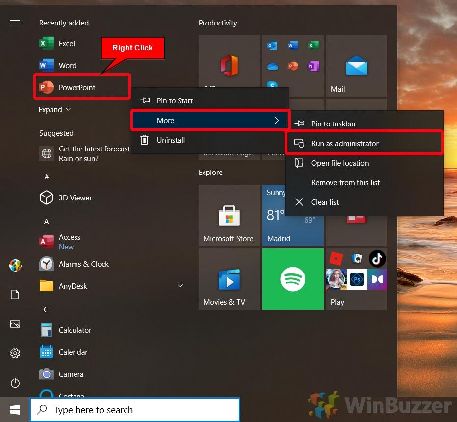 Windows 10 - Start Menu - Right Click on App - More - Run as Admin