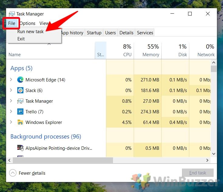 Windows 10 - Task Manager - More Details - File - Run New Task