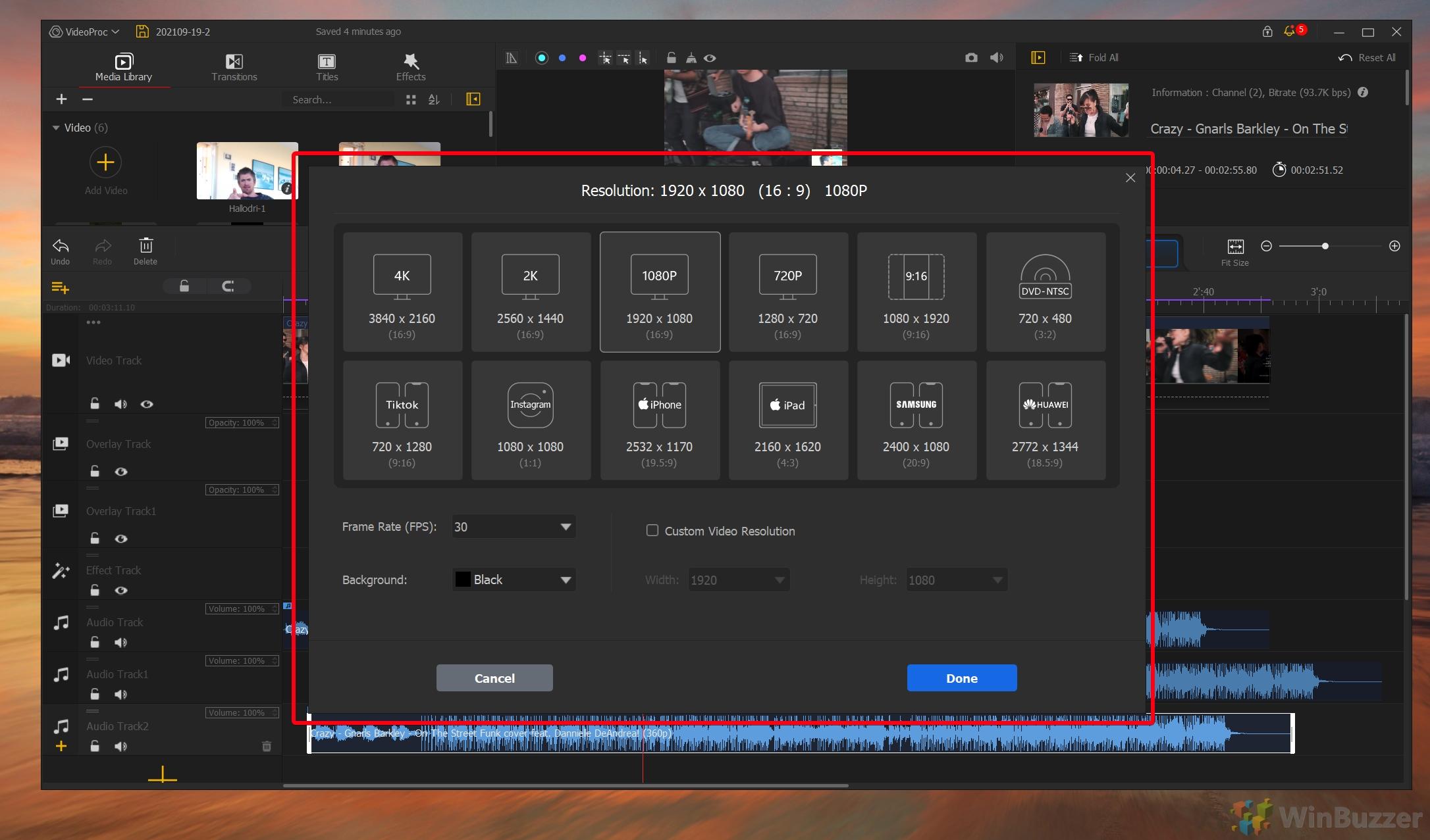 VideoProc Vlogger - Resolution Settings