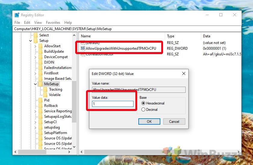 Windows 10 - Regedit - HKEY_LOCAL_MACHINE SYSTEM Setup MoSetup - AllowUpgradesWithUnsupportedTPMOrCPU